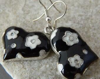 Black Enameled Heart Earrings