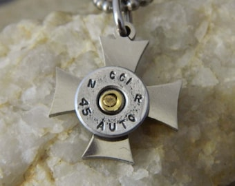 Stainless Steel Cross Bullet Necklace