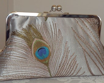 Peacock Feathers Embroidered Silk Clutch/Purse/Bag.. Silver w/ Breezy Navy lining..Free Monogramming/Personalization