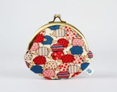 Metal frame coin purse - Sweet hedgehogs in blue - Daddy rounded purse / Japanese fabric / dots and stripes / cream blue red / woodland