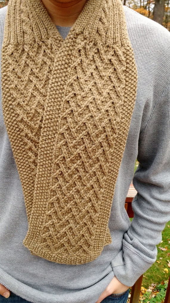 Knitting Pattern For Seaman s Scarf : Knitting Pattern - Scarf Cowl Neckwarmer men women unisex DIY gift - Herringb...