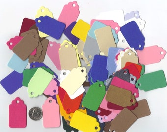 Multi Colored Cardstock Mini Scallop Top Die Cut Gift Hang Tags (Set of 100) Favor Bag Tags / Craft Show Price Tags / Ready To Ship