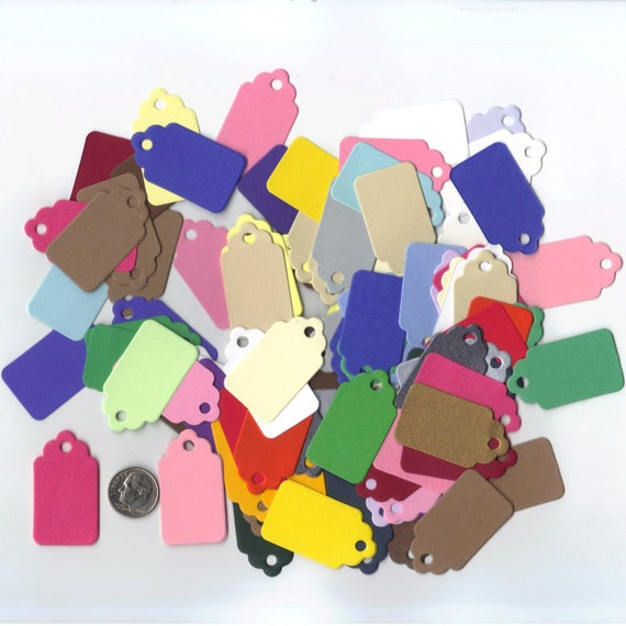 Items similar to multi colored cardstock mini scallop top for Price tags for craft shows