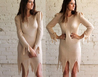 stevie in the 70s -- amazing vintage shimmery knit dress with zig zag hem and cuffs S/M