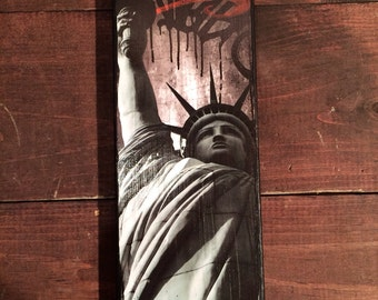 """Statue of Liberty - NYC photography/ Graffiti/ paint on 4""""x12"""" stretched canvas"""