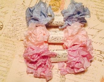 Crinkled Seam Binding Ribbon 15 Yards, Light Lavender, Pink, Light Blue, Pastel Spring