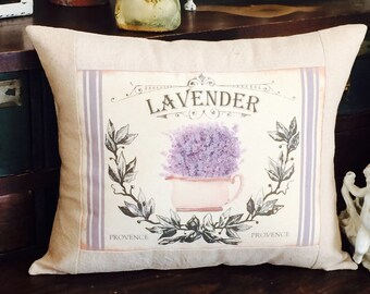 French Provence Lavender Grain Sack Throw Pillow,  French Script Grainsack Pillow Cover, French Country Throw Pillow,  Cottage Style Pillow