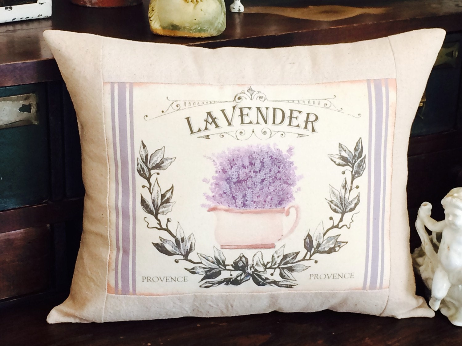 French Provence Lavender Grain Sack Throw Pillow French