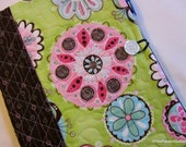 Quilted Journal Cover Modern Floral Green PInk Brown with Notebook and Pen Included