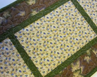 Brown Green Purple Maple Leaf Quilted Table Runner