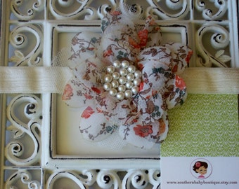 NEW ITEM----Boutique Baby Girl Headband---Fall Bloom----Floral Vintage Collection