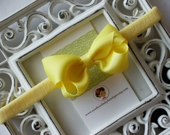 New Item----Boutique Baby Girl Hair bow Dainty Headband-----Lemon Yellow----Makes a Perfect Gift