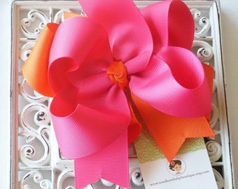 NEW ITEM----Big Boutique Doubled Layered Hair Bow Clip----Shocking Pink & Orange----
