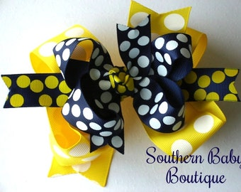 NEW----Big Boutique Doubled Layered Hair Bow Clip---Summer Splash---Yellow and Navy Blue