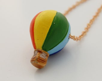 Hot Air Balloon Bright Colorful Charm Necklace Blue Purple Red Orange Yellow Green Rainbow Jewelry Long Necklace
