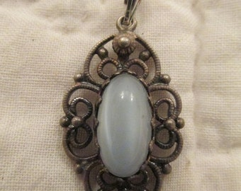 Antique Sterling Silver Pendant Marked with center stone SALE