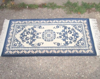 Vintage Beautiful 30x64 Plush Heavy Wool Blue and Off White Rug in Chinese Design