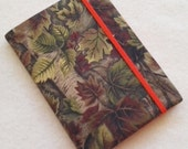 Batik Covered Pocket Memo Book, CAMO and ORANGE, Refillable Mini Composition Notebook Cover in Realistic Leaf Print
