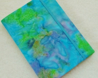 Batik Covered Pocket Memo Book, MERMAID , Refillable Mini Composition Notebook Cover in Blue and Green Marble Batik