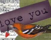 Romantic Valentine Folk Art, Bird Typography, ACEO Love Collage, Heart, Purple Green Red, Found Text, Romantic Home Decor, Giclee Print