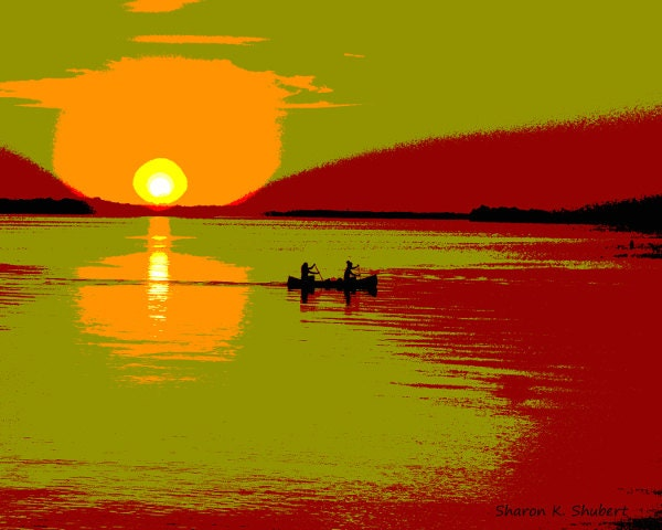 Couple Silhouette Sunset Painting Couple Silhouette Sunset