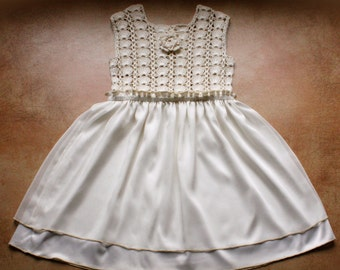 Baby Dress . Crochet Top