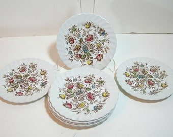 Johnston Bros. Staffordshire Bouquet Set Of Eight Bread Plates