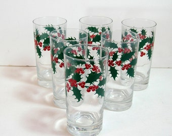 Vintage Christmas Holly Glasses, Set Of Six