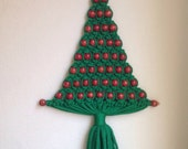 Vintage Handmade Green Macrame Christmas Tree, Vintage Christmas Decoration, Vintage Wall Decor