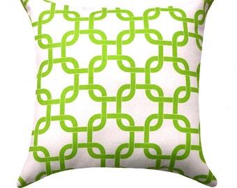 Green STUFFED Pillow - Chartreuse Green and White Pillow - Green Chain Link Throw Pillow - Geometric Pillow - Modern Pillow - Free Ship