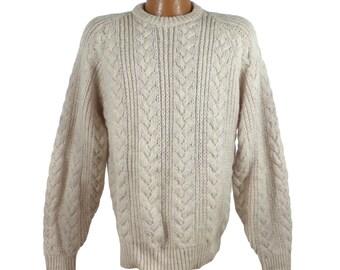 Pendleton Sweater Vintage Wool 1970s Cream Pullover Men's size M