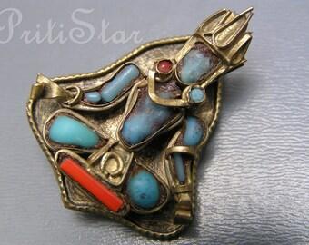 Tribal Brooch  Pin Handmade  Buddha Coral Turquoise Glass Old Tibetan Nepal Tibet jewellery