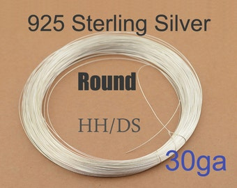 30ga Sterling Silver Wire 20ft, 925 silver wire, HH or DS, USA made wholesale Jewelry Wire Supply(3030-20)
