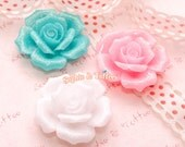 Stunning Glitter Rose Cabochon | Decoden Pieces | Resin Cabochon - 6pcs