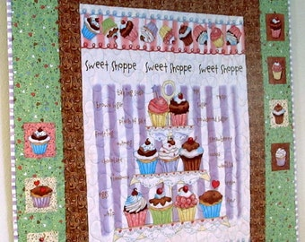Green Pink Purple and Brown Cupcake Quilt