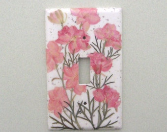 Peachy pink larkspur single lightswitch cover switchplate