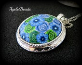 Blue and green rose pendant Necklace , colorful , handmade, one of a kind