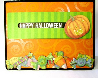 Halloween Greeting Card Spinning Pumpkin Interactive