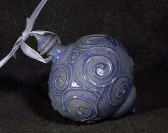 Ceramic blue christmas ornament, one of a kind