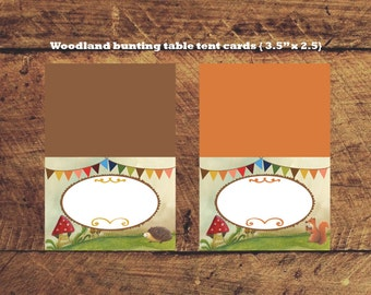 Instant Download Woodland bunting, squirrel and hedgehog Table Tent Blank Cards 3.5 inch x 2.5 inch folded