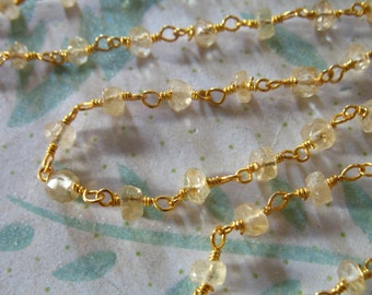 30% Off Sale.. Rosary Chain, CITRINE Wire Wrapped Chain by the Foot, Beaded Chain, Silver or Gold Plated, Wholesale Gemstone Chain rc.15