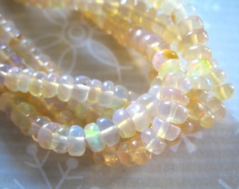Shop Sale.. 20-100 pcs, 3.5-4.5 mm, Welo OPAL Rondelles Beads, Luxe AAA, Smooth Ethiopian Opal, shaded creme / golden w rainbow flash exotic