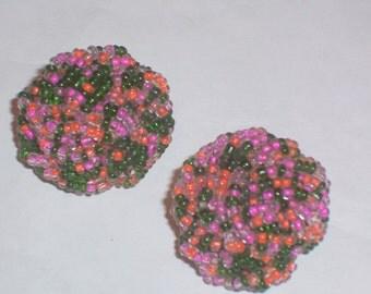 Vintage Pink Orange and Green Bead Earrings - Clip Ons