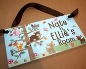 Personalized DOOR SIGN Brother Sister Twins Woodland Friends Forest Animals Boys Girls Bedroom Baby Nursery Kids Door Sign Wall Art DS0176