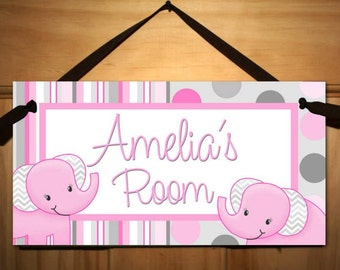 Pink and Grey Elephant Girls DOOR SIGN Nature Bird Bedroom and Baby Nursery Kids Bedroom Wall Art DS0017