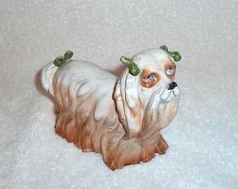 Vintage Italian Pottery Shih Tzu Dog Figurine Puppy Green Bows Italy Majolica