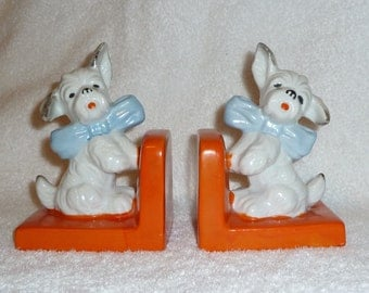 Vintage Art Deco Scottie Dog Bookends Terrier 1930s Figure Japan Book Ends Orange White Blue