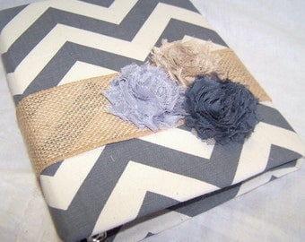 GUEST Book / Bridal Shower Guest Book / Advice Book / Rustic Guest Book / Gray and Ivory guest book / Chevron Guest Book / Burlap Guest Book