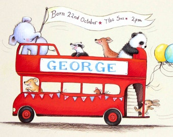 Personalised baby gifts, baby name art, nursery decor, nursery art, elephant, panda, deer, dog & rabbit in a London bus, christening gifts