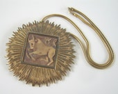 Vintage Luke Razza Taurus the Bull Zodiac Pendant Gold Necklace